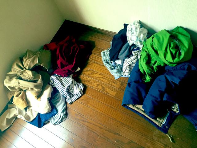衣類の仕分けが終わったときの写真